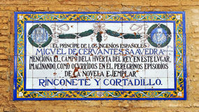Panel of tiles of homage to the universal writer Miguel de Cervantes, Seville, Spain Royalty Free Stock Photography