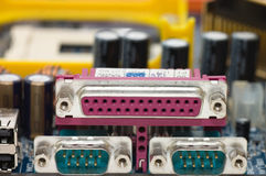 Panel trasero de la placa madre del ordenador Fotos de archivo