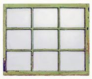 Vintage sash window panel with dirty glass. Panel of vintage, grunge, sash window with dirty glass 9 panes, isolated on white with a clipping path Royalty Free Stock Photos