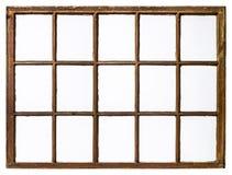 Vintage sash window panel. Panel of vintage, grunge, sash window with dirty glass 15 panes, isolated on white Stock Photo