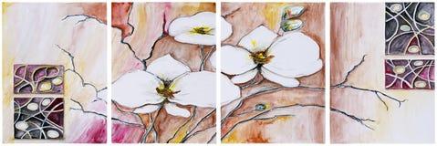 Panel von vier Malereien - blühender Kirschbaum lizenzfreie abbildung