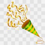 Panela de fazer pipoca dourada de explosão dos confetes no fundo da transparência Imagens de Stock Royalty Free