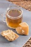 Panela juice from sugar cane stock photo