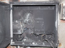 Panelboard damaged by surge Stock Images