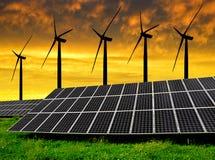 Paneler för sol- energi med vindturbiner Royaltyfri Fotografi