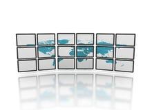 paneler som visar tvvärlden Fotografering för Bildbyråer