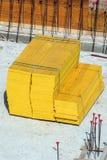 Paneles de madera Emplazamiento de la obra carpintería Imagen de archivo libre de regalías