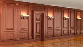 Paneling de madeira no interior Fotografia de Stock Royalty Free