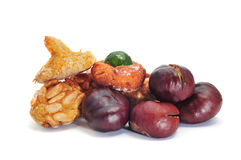 Panellets and roasted chestnuts Royalty Free Stock Photos