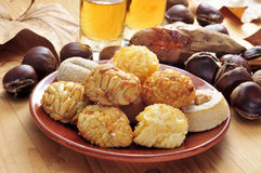 Panellets and roasted chestnuts and sweet potatoes Stock Images
