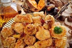Panellets, roasted chestnuts and sweet potatoes, and sweet wine, Royalty Free Stock Photos