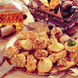 Panellets, roasted chestnuts, sweet potatoes and sweet wine, typ Royalty Free Stock Photography