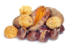 Panellets and roasted chestnuts and sweet potatoes, typical snac Stock Images
