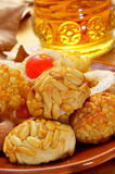 Panellets and sweet wine, typical snack in All Saints Day in Cat Stock Image