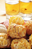 Panellets and sweet wine, typical snack in All Saints Day in Cat Royalty Free Stock Image