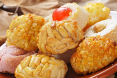 Panellets, typical pastries of Catalonia, Spain, eaten in All Sa Royalty Free Stock Image