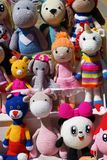 Panels of knitted toys of familiar characters royalty free stock image