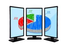 Panels with pie graphic. Flat panels with pie graphic on screen monitors Royalty Free Stock Image