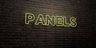 PANELS -Realistic Neon Sign on Brick Wall background - 3D rendered royalty free stock image Stock Photos