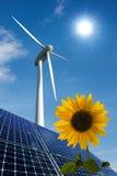 panels sol- solrosturbinwind Royaltyfri Fotografi