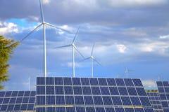 panels sol- windmills Royaltyfria Foton