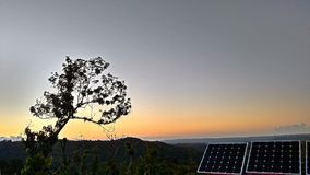 Solar Power Puerto Rico. These panels and view was enjoyed from the mountains of west puerto rico in March 2018 Stock Photos