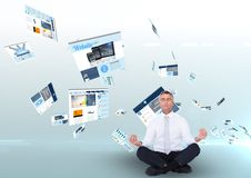 panels with websites flying and business man meditating royalty free stock photos
