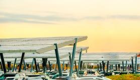 Panelu słonecznego parking baldachim Zdjęcie Stock