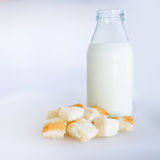 Panera och mjölka flaskan arkivbilder