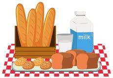 Panera och mjölka uppsättningen stock illustrationer
