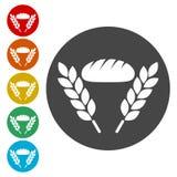 Panera symbolsvektorn, illustration för brödsymbolsvektor royaltyfri illustrationer