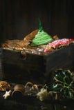Panes de jengibre modelados hechos a mano de la Navidad Imágenes de archivo libres de regalías