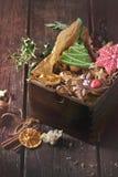 Panes de jengibre modelados hechos a mano de la Navidad Foto de archivo
