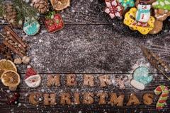 Panes de jengibre por Años Nuevos y la Navidad Foto de archivo libre de regalías