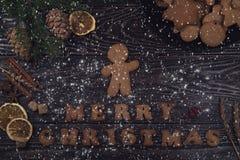 Panes de jengibre por Años Nuevos y la Navidad Imagenes de archivo