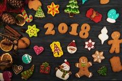 Panes de jengibre por nuevos 2018 años Fotografía de archivo libre de regalías