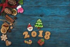 Panes de jengibre por nuevos 2017 años Foto de archivo libre de regalías