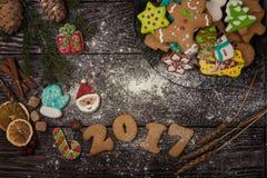 Panes de jengibre por nuevos 2017 años Fotos de archivo libres de regalías