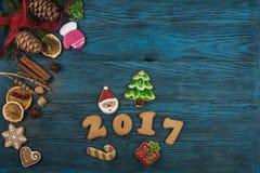 Panes de jengibre por nuevos 2017 años Fotos de archivo