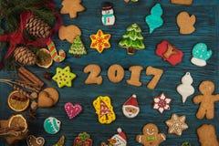 Panes de jengibre por nuevos 2017 años Fotografía de archivo