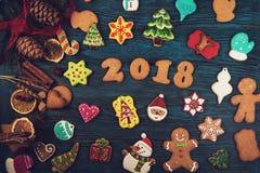 Panes de jengibre por nuevos 2018 años Fotografía de archivo