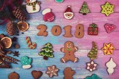 Panes de jengibre por nuevos 2018 años Imágenes de archivo libres de regalías