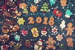 Panes de jengibre por nuevos 2018 años Fotos de archivo