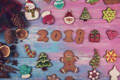 Panes de jengibre por nuevos 2018 años Imagen de archivo