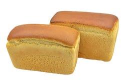 Panes del pan aislados en blanco Foto de archivo