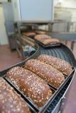 Panes del pan en la fábrica Fotografía de archivo libre de regalías