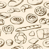 Panes y fondo tilable dibujado mano de los pasteles Imagen de archivo libre de regalías