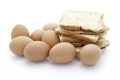 Panes y huevos Imágenes de archivo libres de regalías