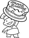 Panettiere With Birthday Cake Illustrazione di Stock