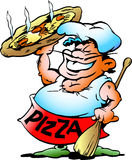 Panettiere della pizza con una pizza gigante Fotografie Stock